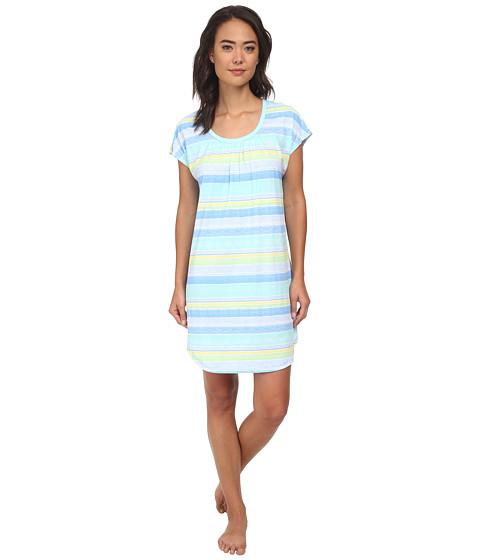 LAUREN by Ralph Lauren - Goa Short Sleeve Sleepshirt (Taj Watercolor Stripe Green/Blue/Yellow/White) Women
