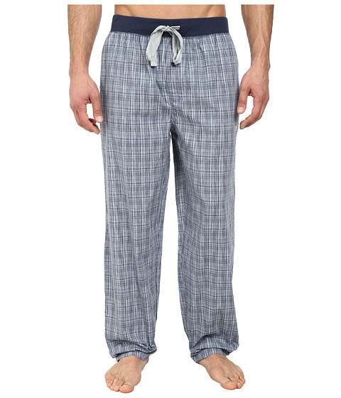 Kenneth Cole Reaction - Woven Pants (Dress Blue Grid) Men's Pajama