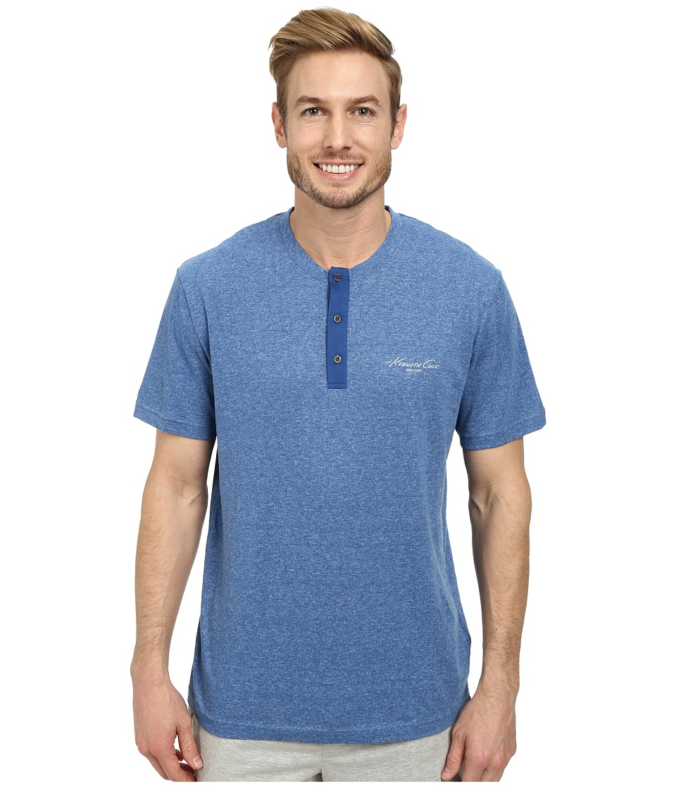 Kenneth Cole Reaction - Lounge Short Sleeve Henley (True Blue Heather) Men's Pajama