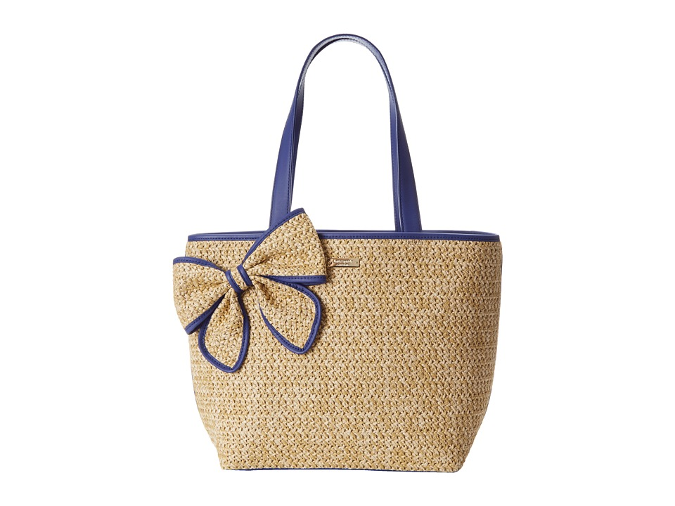 Kate Spade New York - Belle Place Straw Summer (Natural/Aegean Cobalt) Handbags