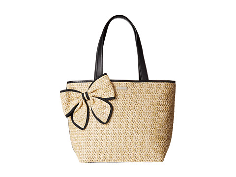 Kate Spade New York - Belle Place Straw Summer (Natural/Black) Handbags