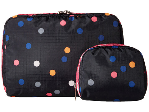 LeSportsac Luggage - Extra Large Rect And Square Cosmetic Combo (Litho Dot Pink) Cosmetic Case