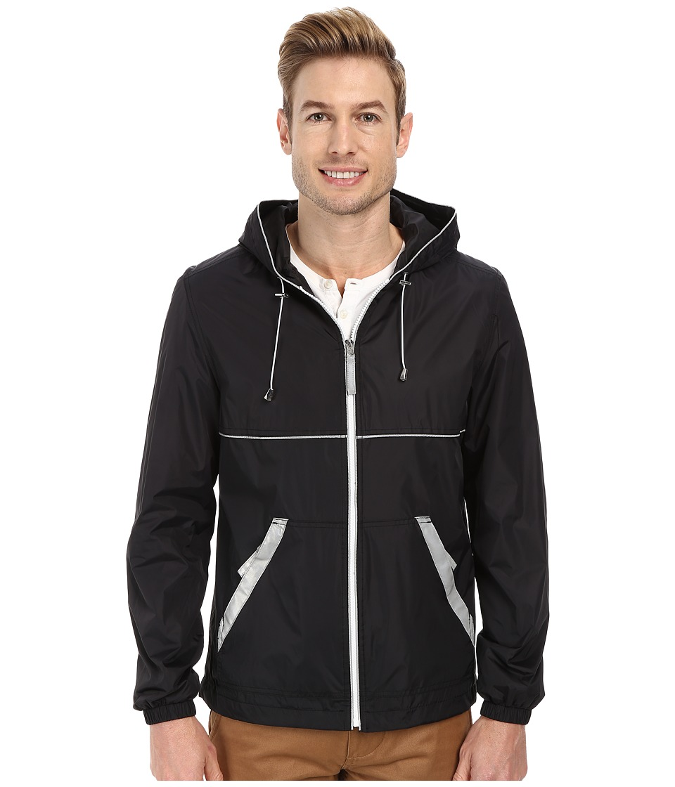 Perry Ellis - Nylon Hooded w/ Reflective Tape (Black) Men's Coat
