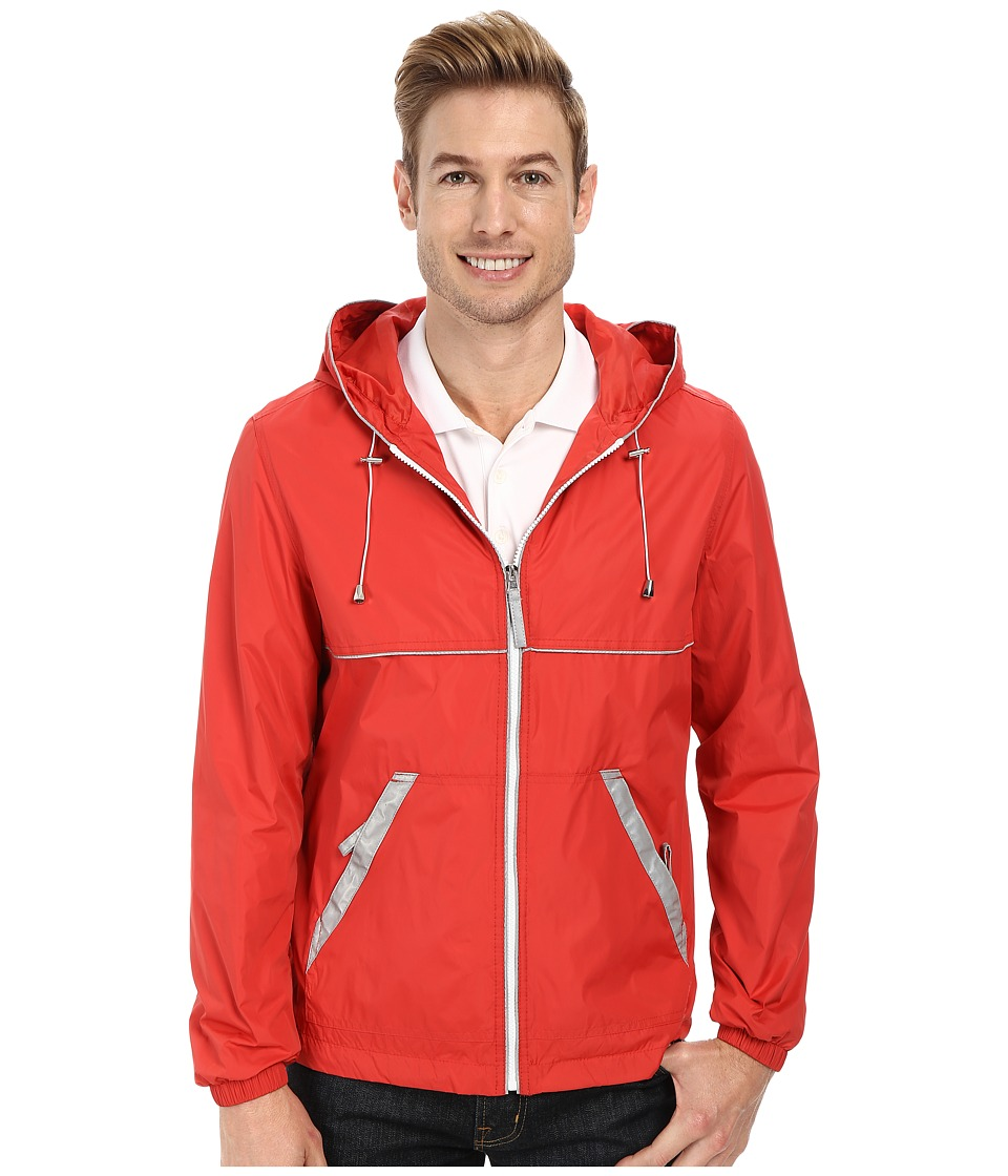 Perry Ellis - Nylon Hooded w/ Reflective Tape (Cranberry) Men's Coat
