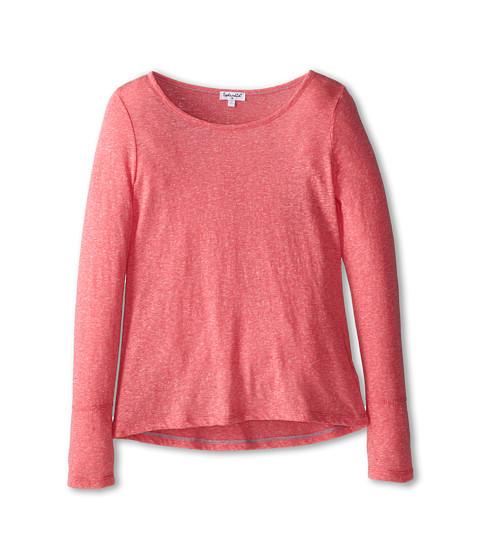 Splendid Littles - Textured Solid Long Sleeve Top (Big Kids) (Coral) Girl's Clothing
