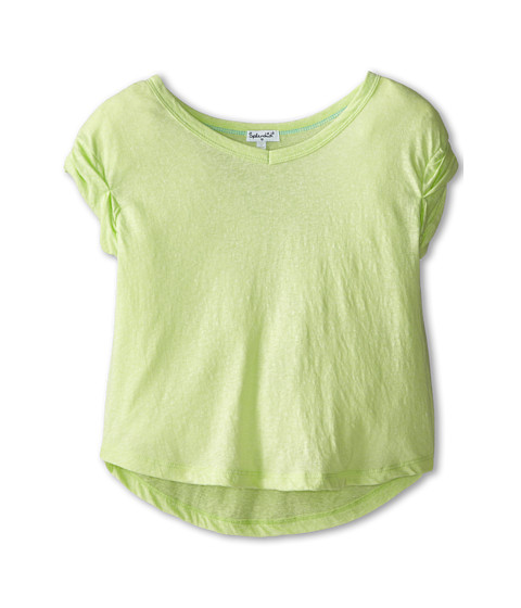 Splendid Littles - Textured Solid Short Sleeve Top (Big Kids) (Lime) Girl's Clothing
