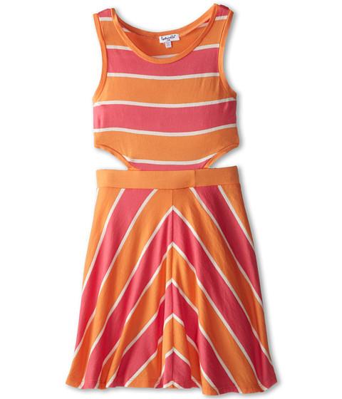Splendid Littles - Classic Stripe Dress (Big Kids) (Coral) Girl's Dress
