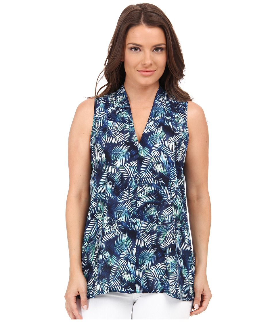 NYDJ Petite - Petite Modern Sleeveless Blouse (Tropical Palms) Women's Blouse