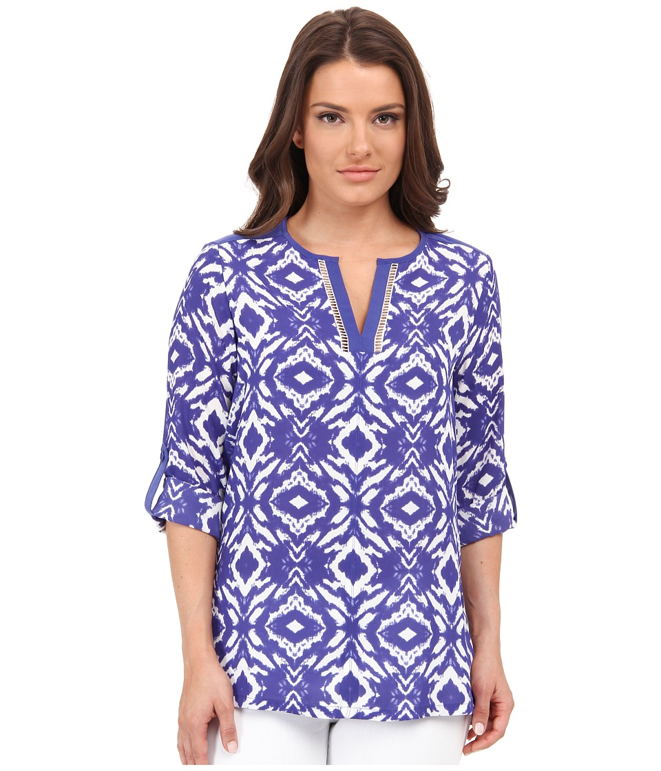 NYDJ Petite - Petite Summer Batik Printed Tunic (Deep Sea Blue) Women