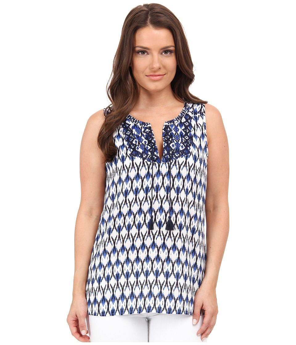 NYDJ Petite - Petite Modern Natives Printed Sleeveless Top (Washed Indigo) Women