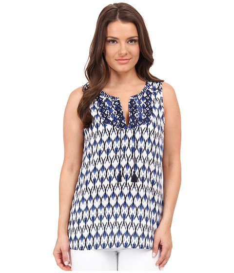 NYDJ Petite - Petite Modern Natives Printed Sleeveless Top (Washed Indigo) Women's Sleeveless