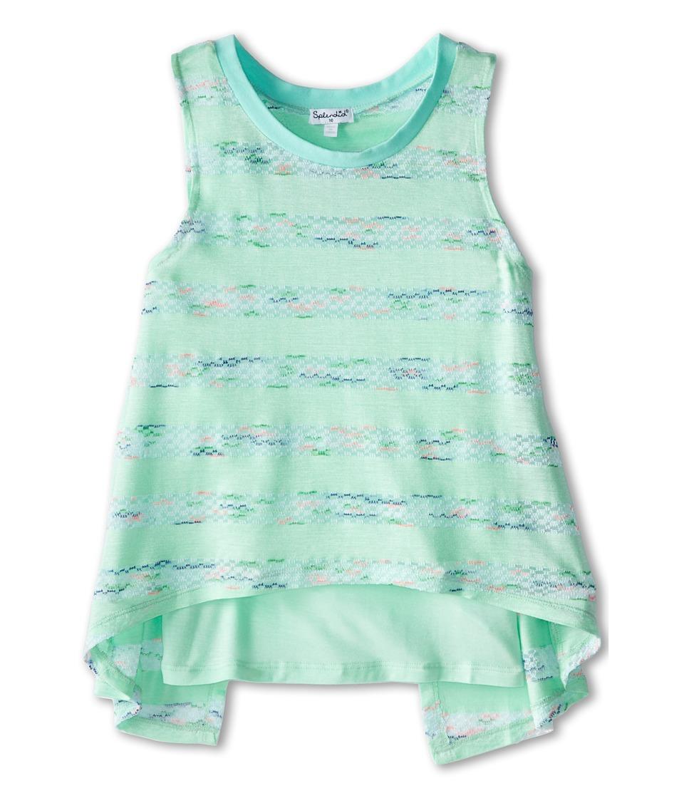 Splendid Littles - Fashion Stripe 2 Fer Tank Top (Big Kids) (Light Green) Girl's Sleeveless