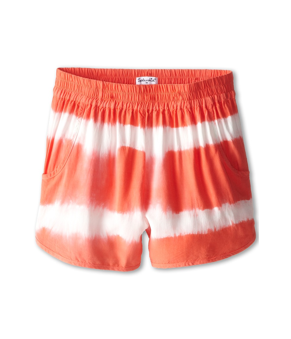 Splendid Littles - Tie-Dye Shorts (Big Kids) (Coral) Girl's Shorts