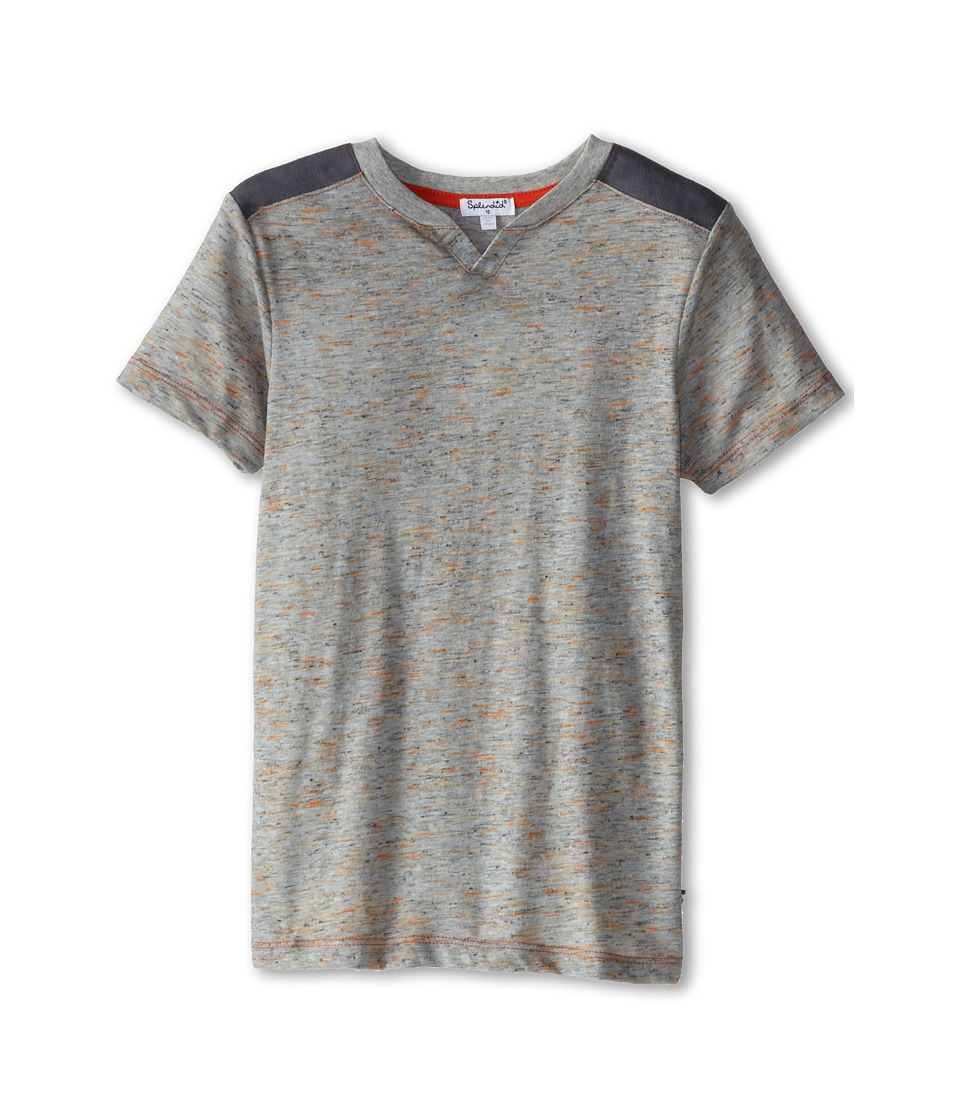 Splendid Littles - Textured Solid Split Neck Tee (Big Kids) (Grey Heather) Boy's T Shirt