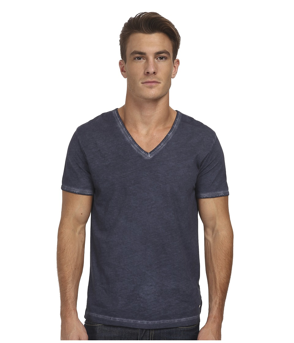 BOSS Orange - Toulouse Fashion Fit Garment Dyed Jersey V-Neck Tee (Dark Blue) Men