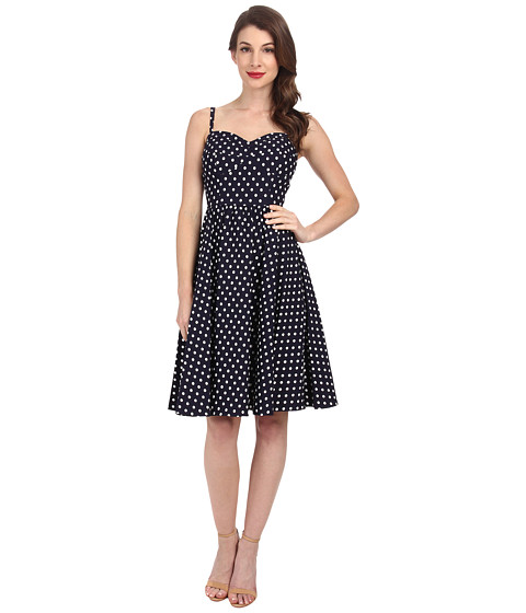Stop Staring! - Swing Dress (Navy/White Dots) Women's Dress