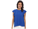 Flutter Sleeve Top w/ Front Pleat