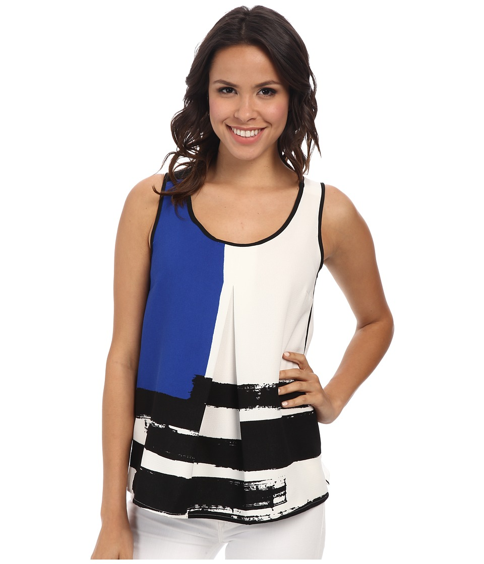 Adrianna Papell - Placement Print Ella Shell (Blue) Women's Sleeveless