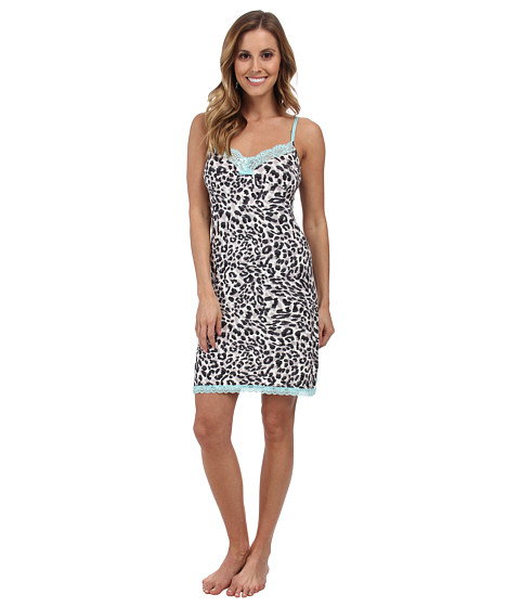 P.J. Salvage - Leopard Print Chemise w/ Blue Trim (Black) Women