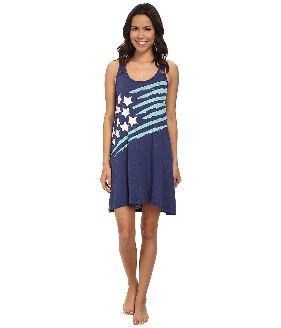 P.J. Salvage - Team USA Stars Stripe Sleep Dress (Navy) Women