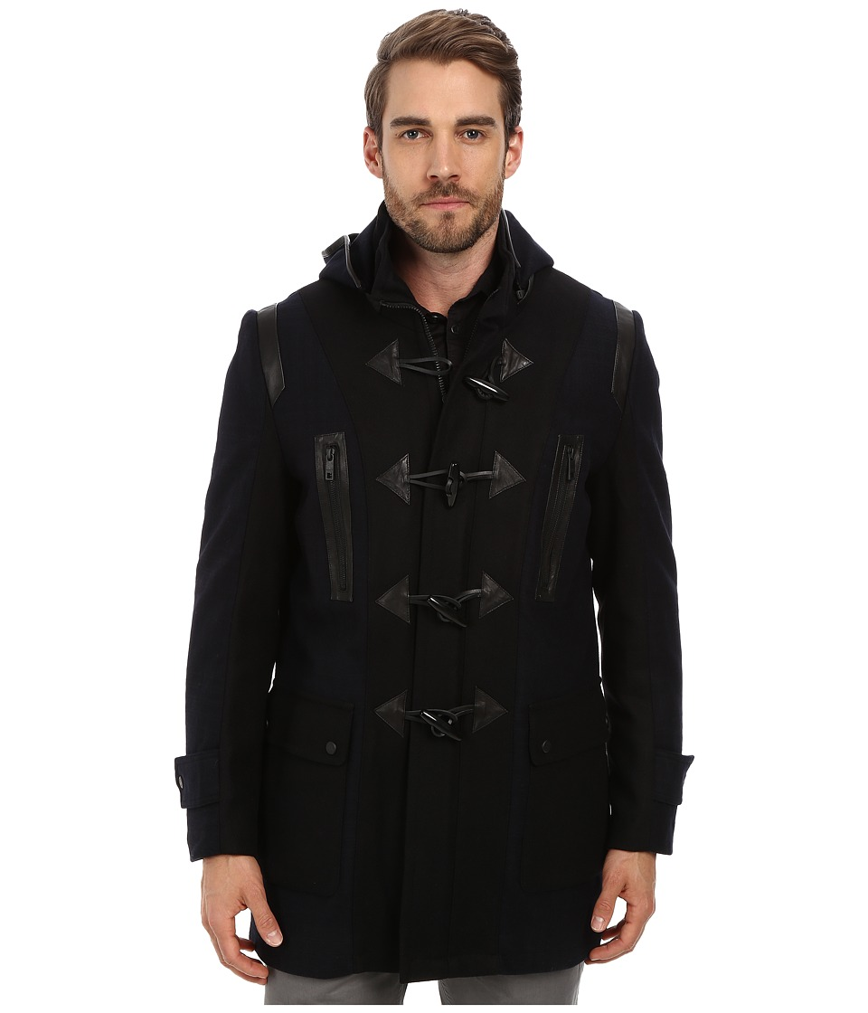 Andrew Marc x Richard Chai - Pierce Textured Wool Plaid Toggle Coat (Navy) Men's Coat