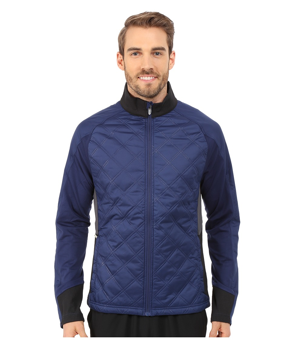 ASICS - Thermo Windblocker (Indigo Blue Stripe/Performance Black) Men's Coat