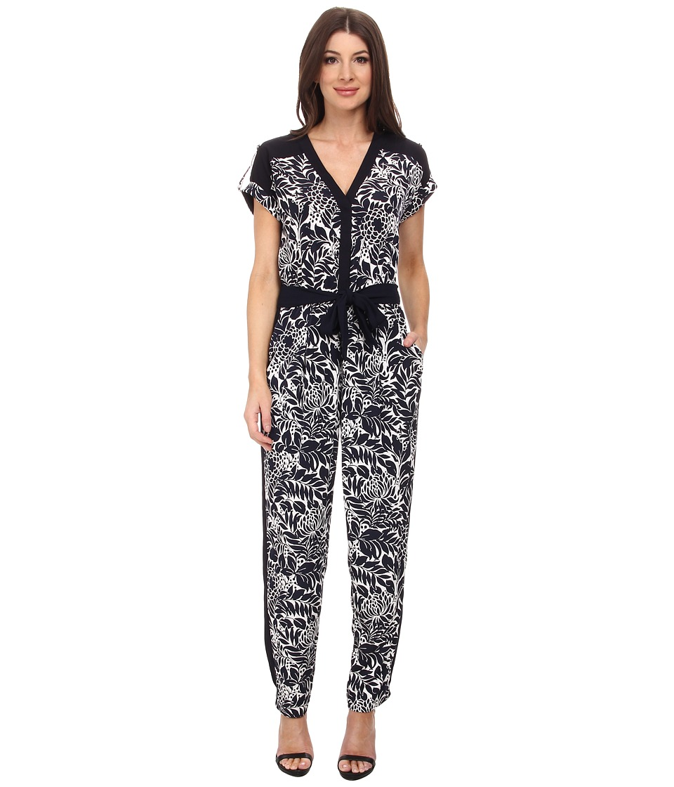 Adrianna Papell - Drop Shoulder Jumpsuit (Navy/Ivory) Women's Jumpsuit & Rompers One Piece