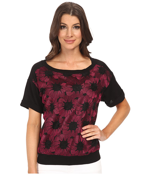Adrianna Papell - Boat Neck Embroidered Knit Top (Ruby) Women