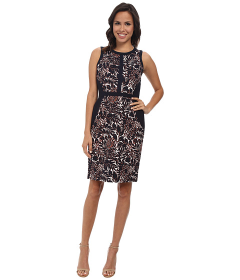 Adrianna Papell - Floral Print Sheath w/ Solid (Navy/Ivory) Women