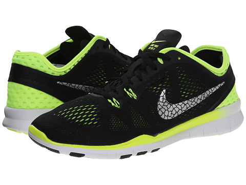 Nike - Free 5.0 Tr Fit 5 Breathe (Black/Volt/Metallic Silver) Women's Cross Training Shoes
