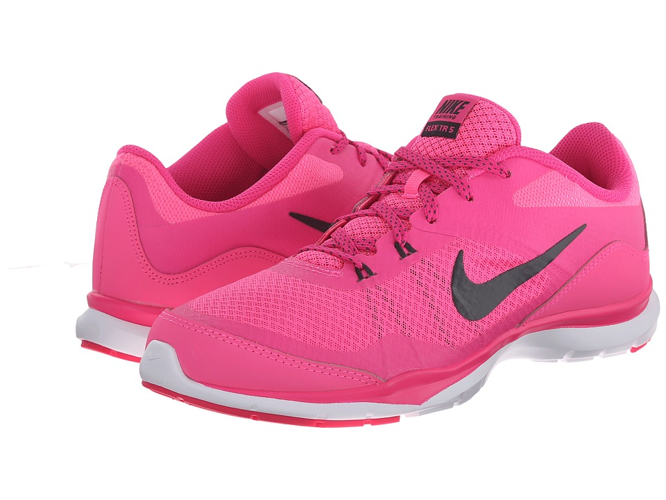 Nike - Flex Trainer 5 (Pink Pow/Pink Foil/White/Anthracite) Women's Cross Training Shoes