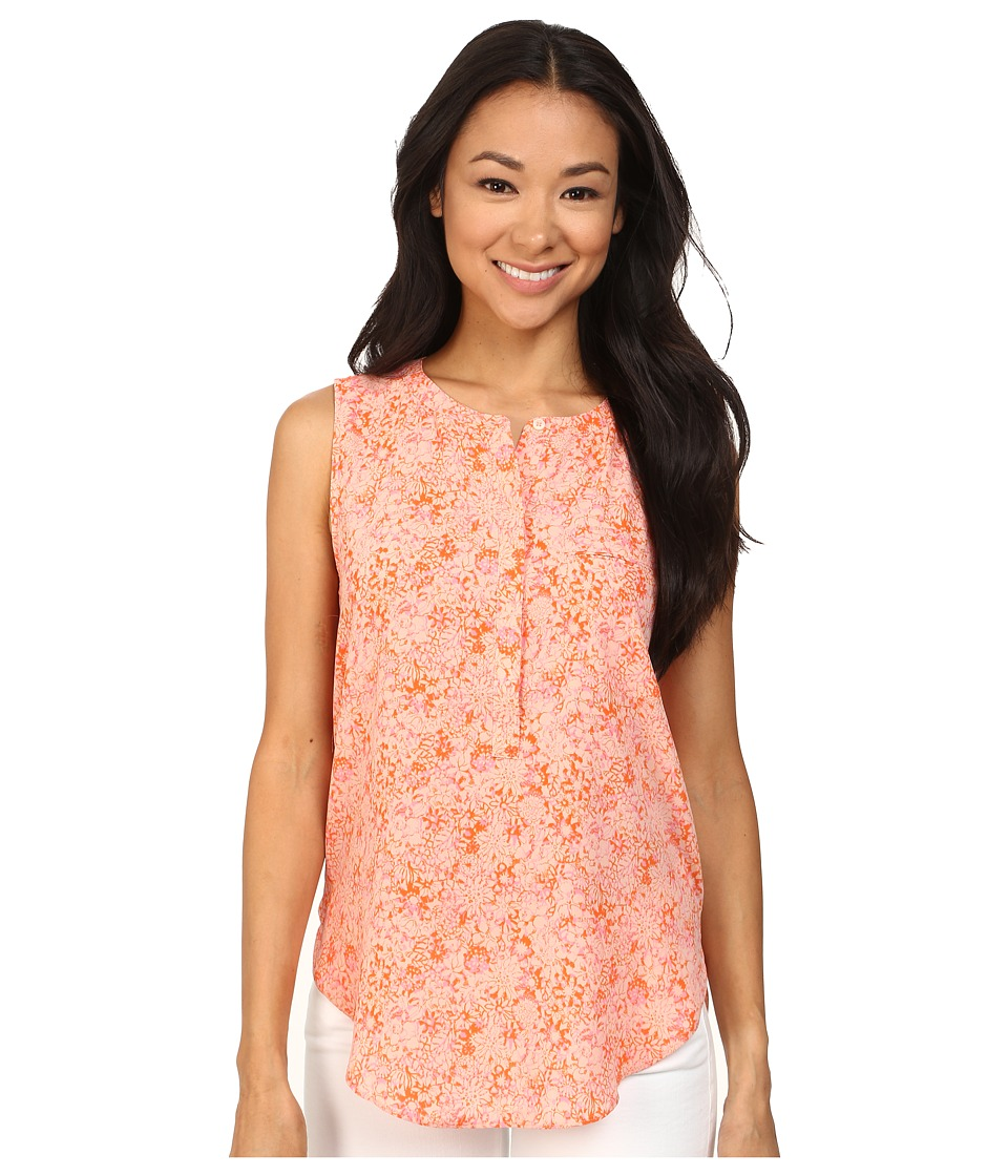 NYDJ - Sleeveless Georgette Blouse w/ Pleated Back (Tangelo Floral) Women