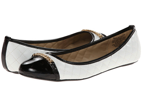 Wanted - Cathy (White/Black Patent) Women's Flat Shoes