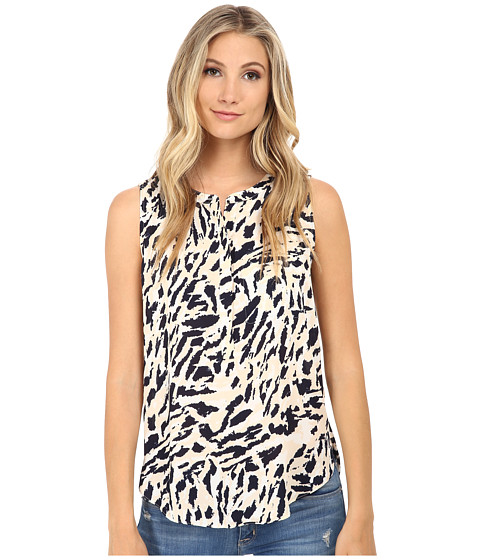 NYDJ - Sleeveless Georgette Blouse w/ Pleated Back (Outback Animal) Women