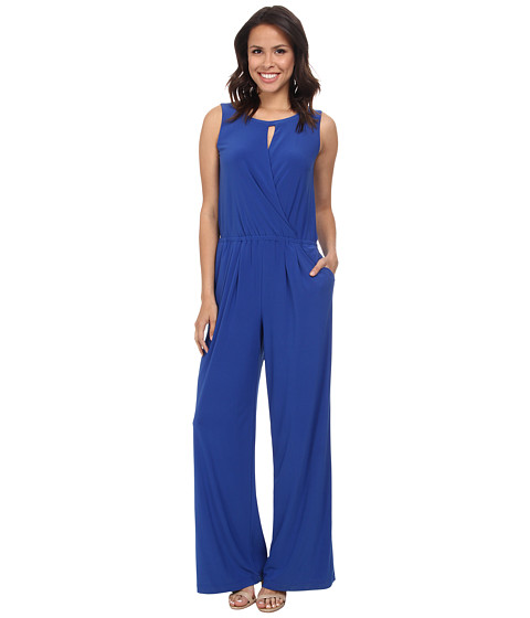 Nine West - Matte Jersey Keyhole Front Jumper (Riviera) Women's Jumpsuit & Rompers One Piece
