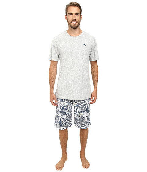 Tommy Bahama - Short Sleeve Island Washed Bermuda PJ Set (Dark Sea) Men's Pajama Sets