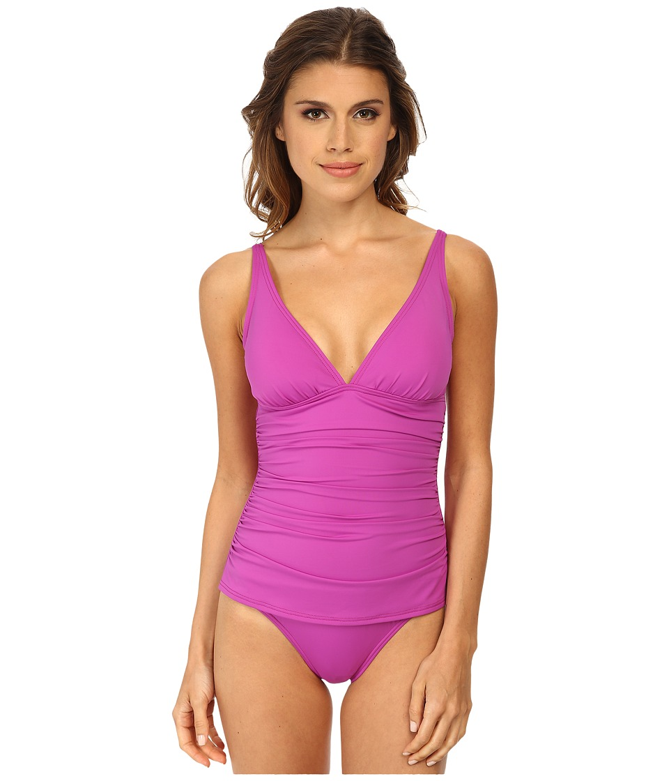 Tommy Bahama - Pearl Over The Shoulder V-Neck Cup One-Piece (Petal Purple) Women's Swimsuits One Piece