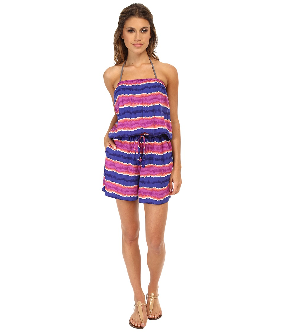 Tommy Bahama - Paint Stripe Short Romper Cover-Up (Danubio Blue) Women's Jumpsuit & Rompers One Piece