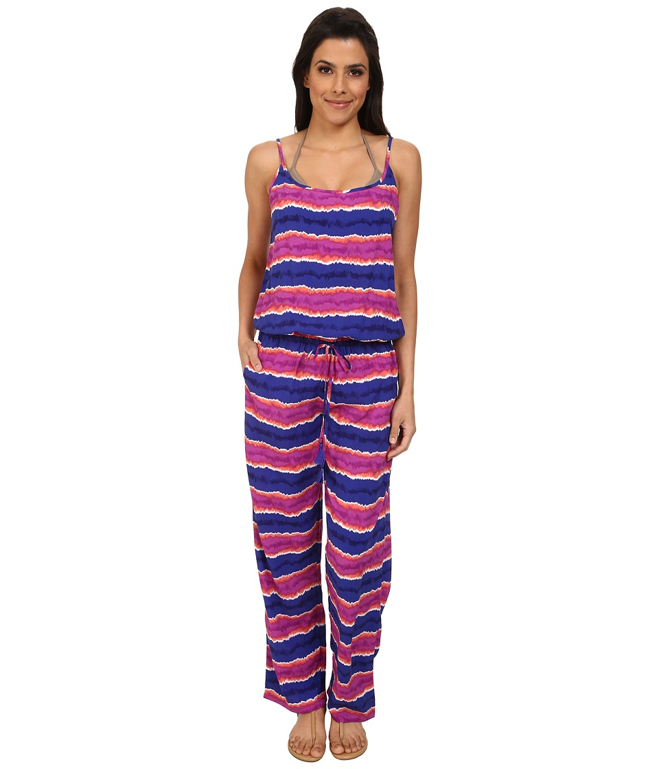 Tommy Bahama - Paint Stripe Long Romper Cover-Up (Danubio Blue) Women's Jumpsuit & Rompers One Piece