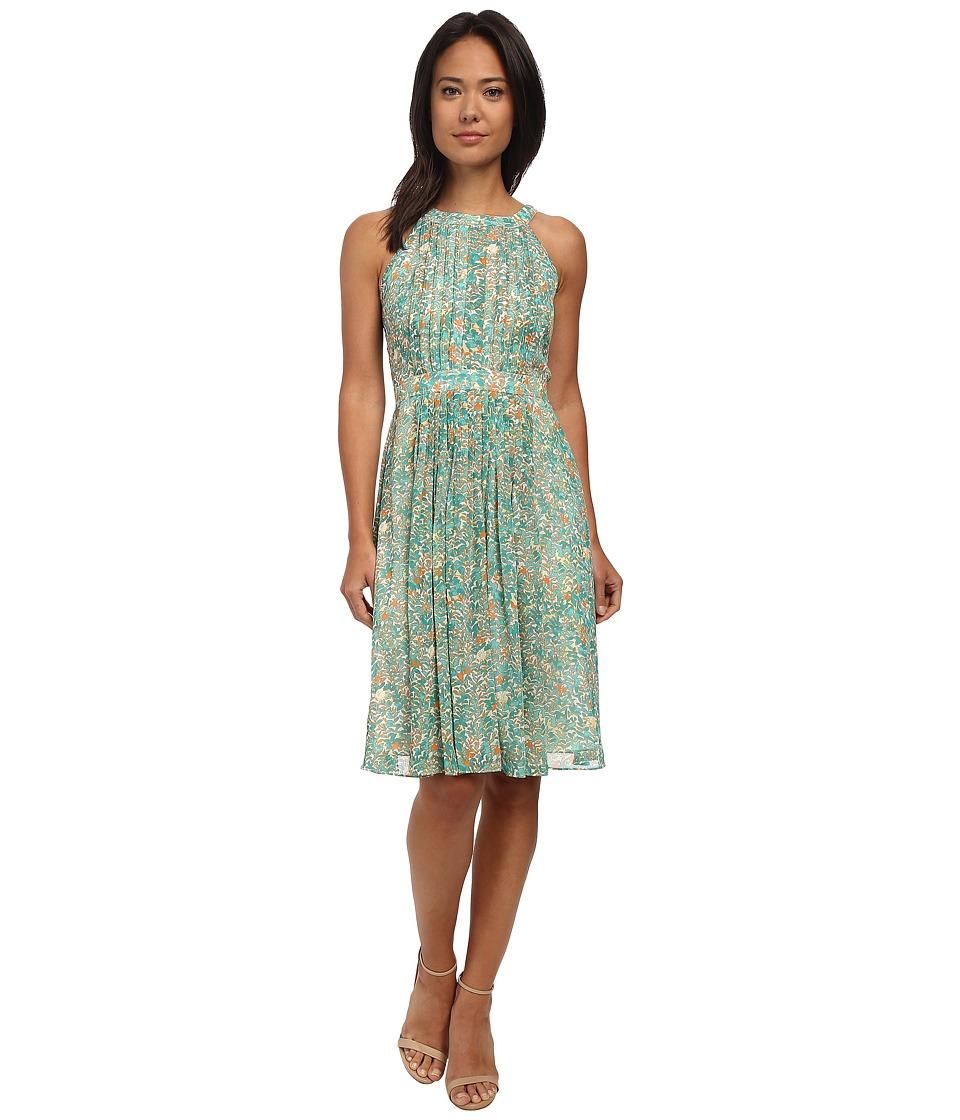 Adrianna Papell - Halter Pleated Chiffon Dress (Blue Multi) Women