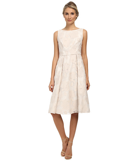 Adrianna Papell - Burnout Netting Classic Pleat Dress (Powder/Ivory) Women