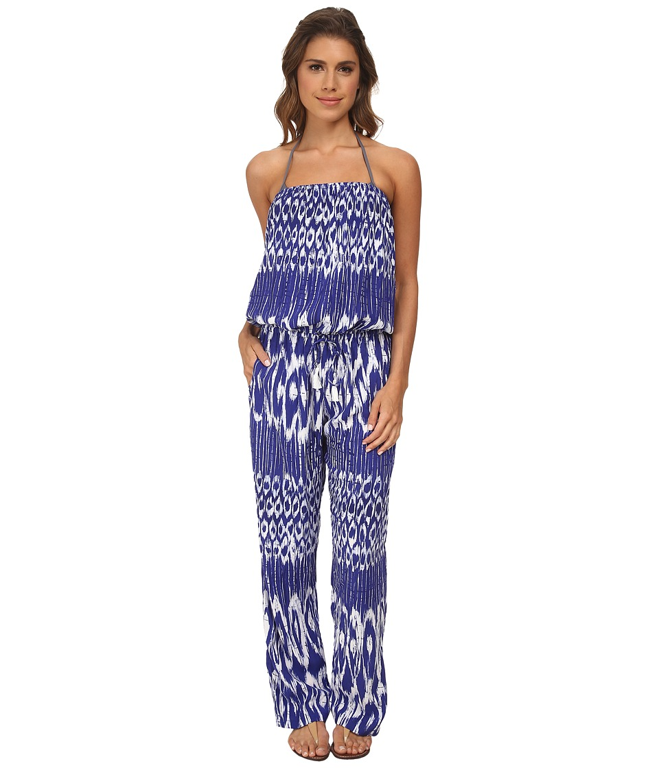 Tommy Bahama - Tie-Dye Bandeau Long Romper Cover-Up (Danubio Blue/White) Women's Jumpsuit & Rompers One Piece