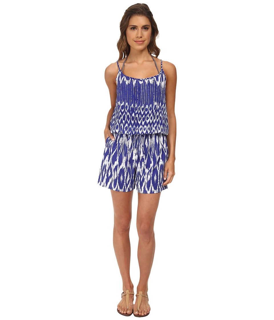 Tommy Bahama - Tie-Dye Spag Strap Short Romper Cover-Up (Danubio Blue/White) Women's Jumpsuit & Rompers One Piece