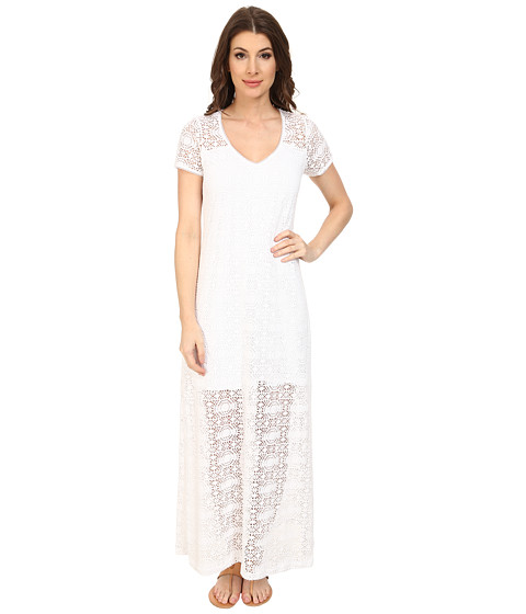 Tommy Bahama - Crochet Lace Long T-Shirt Dress Cover-Up (White) Women
