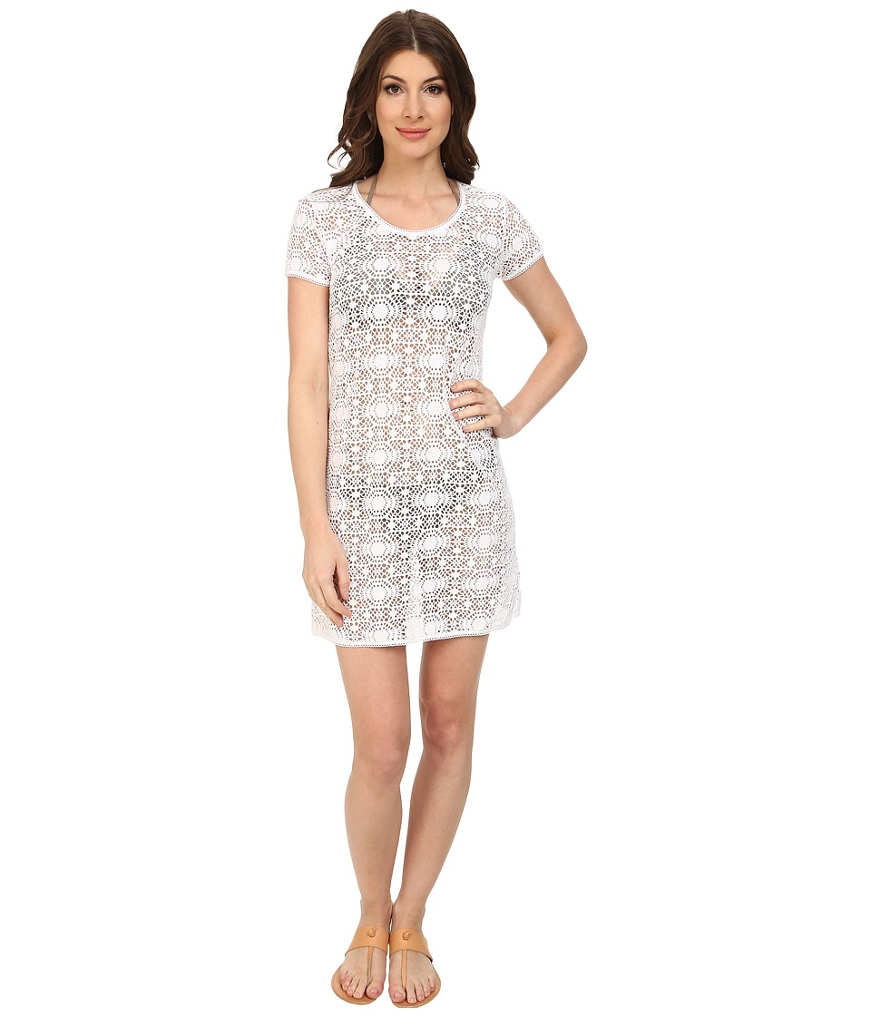 Tommy Bahama - Crochet Lace Short T-Shirt Dress Cover-Up (White) Women