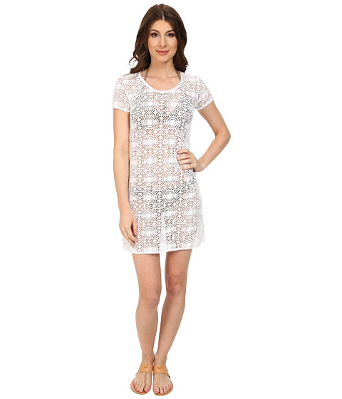 Tommy Bahama - Crochet Lace Short T-Shirt Dress Cover-Up (White) Women's Swimwear