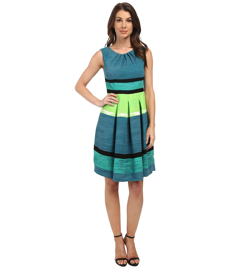 Adrianna Papell - Pleated Neck Striped Color Fit Flare (Teal Multi) Women