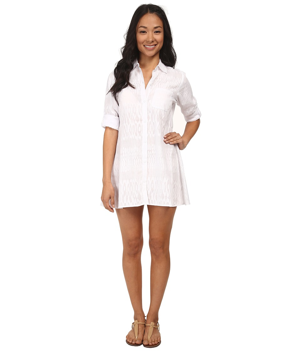 Tommy Bahama - Woven A-Line Boyfriend Shirt Cover-Up (White) Women