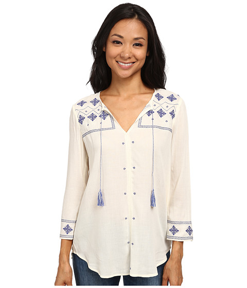 NYDJ - Embroidered Tunic (Vanilla) Women's Blouse
