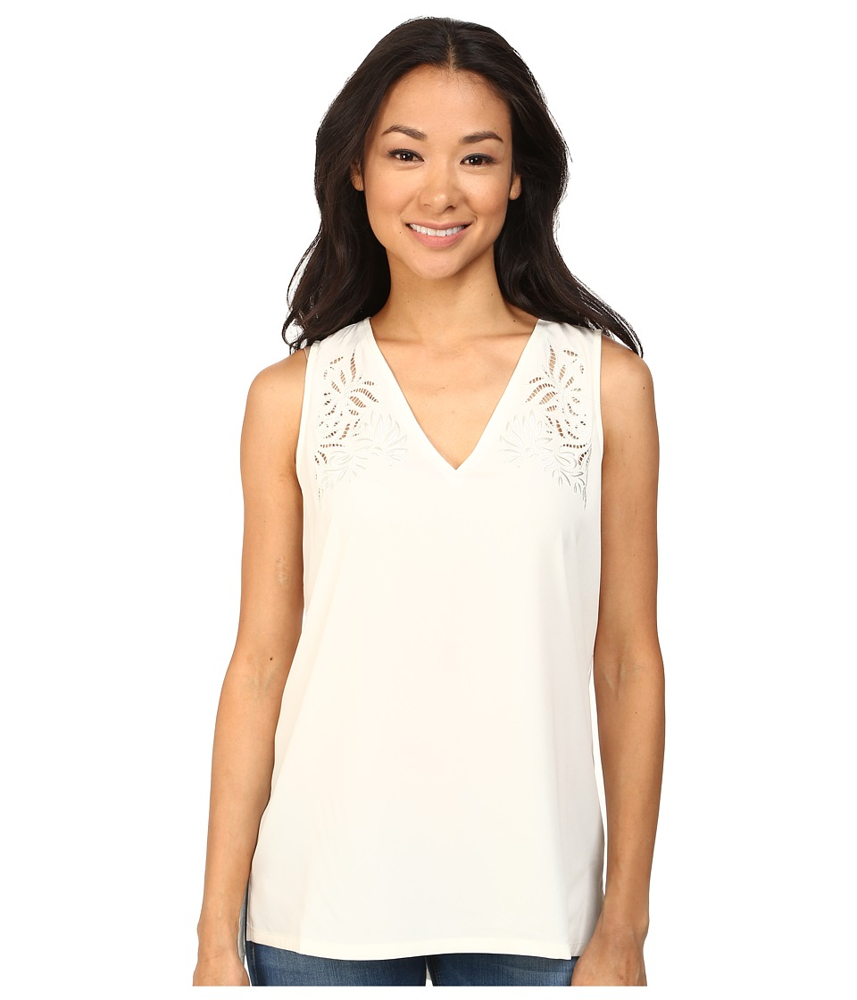NYDJ - Modern Embroidered Sleeveless Blouse (Vanilla) Women